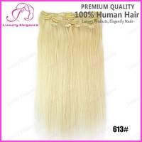Color 613# 22# 24# Human Hair Clip In Hair Extensions For White Women