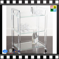 Transparent Clear 3 Tier Smoke Acrylic Bar Serving Cart Hotel serving Trolleys with 4 wheels