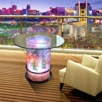 LED glowing dancing water bubble intelligent room table acrylic fish tank
