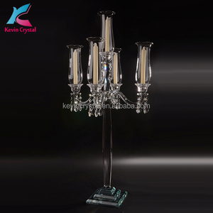 Tall 5 lights wedding decorations crystal flower candelabra with lampshade