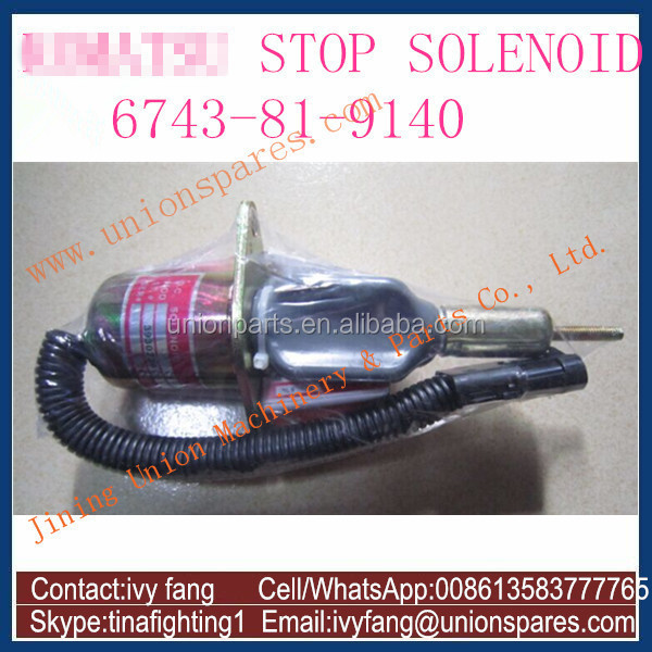 Excavator Parts 6743-81-9141 Stop Solenoid for Komatsu PC300-7 PC360-7