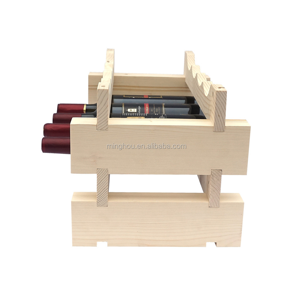 Stackable Wine Rack Shelves Wine Stand Pine Wooden Drink Holder Storage 4 Bottles