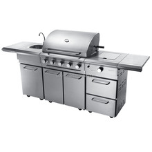 Outdoor kitchen GAS BBQ GRILL WITH STAINLESS STEEL GRILLS AND 6 BURNERS BBQ