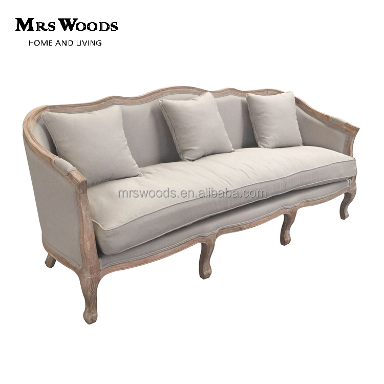 3 seater distressed oak wood provincial french country linen <strong>sofa</strong>