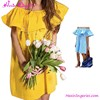 Designer Yellow Ruffles One Piece Flower Girl Net Dresses Lady Fashion Dress