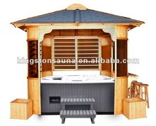 Finland Pine Garden Gazebo With Taproom and 4 Barstools and 2 Flower Basket
