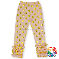 Pink Polka Dots Cotton Girls Ruffled Pants, Wholesale Baby Girls Boutique Clothing Icing Leggings,Triple Ruffle Pants
