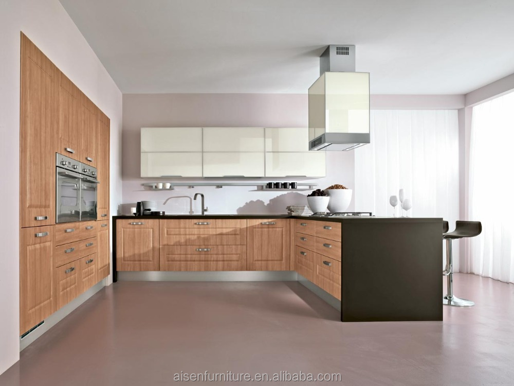 Modern design high quality pvc thermal foil kitchen cabinet