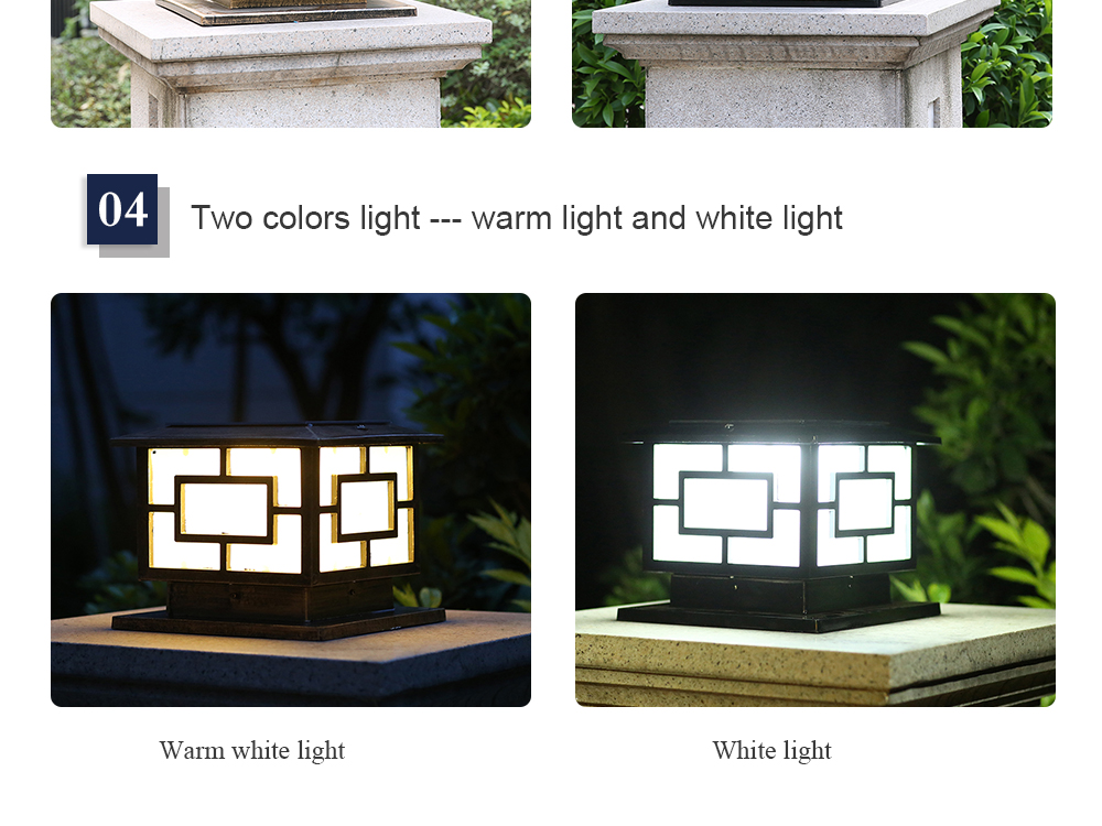Led Super Bright Solar Powered Outdoor Lights with Warm Light and White Light for garden fence