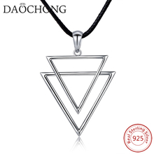Reasonable Prices Fashion Men's 925 Sterling Silver Double Triangle Pendant Necklace