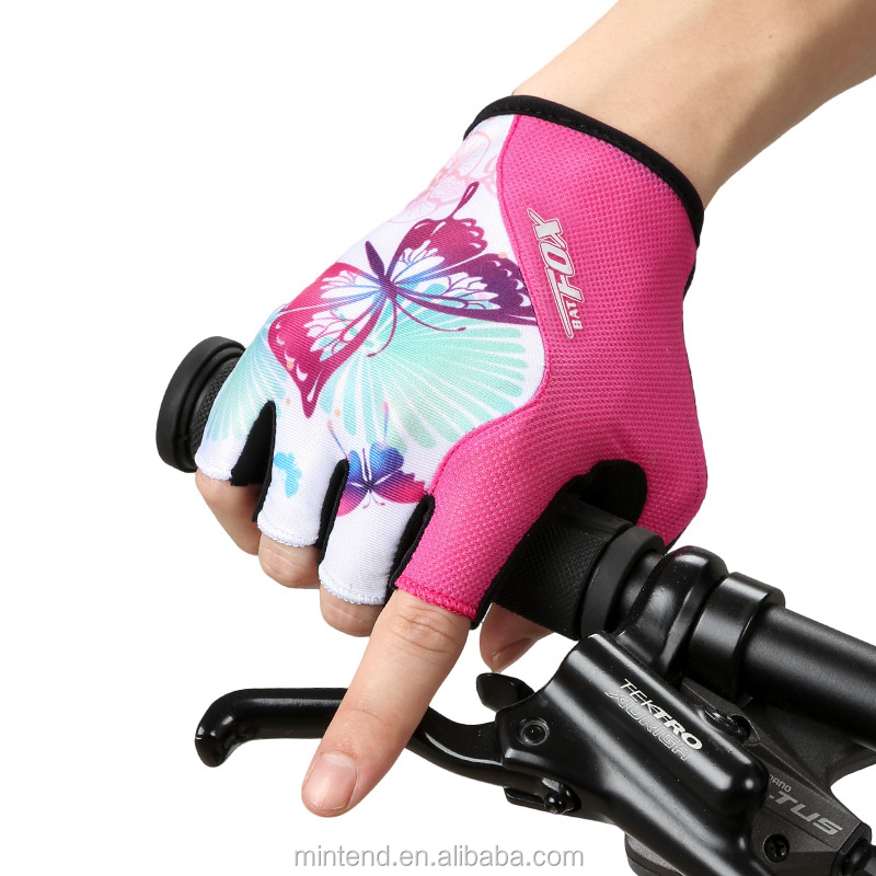 Women Cycling Gloves Half Finger Polyester Breathable Sport Bike Hand Gloves Summer Outdoor MTB Gel Fitness Bicycle Hand Gloves