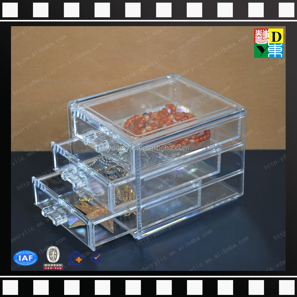 High Qualituy 3 and 5 Drawer Hand Made Kardashians Acrylic Portable Make Up Jewellery Case