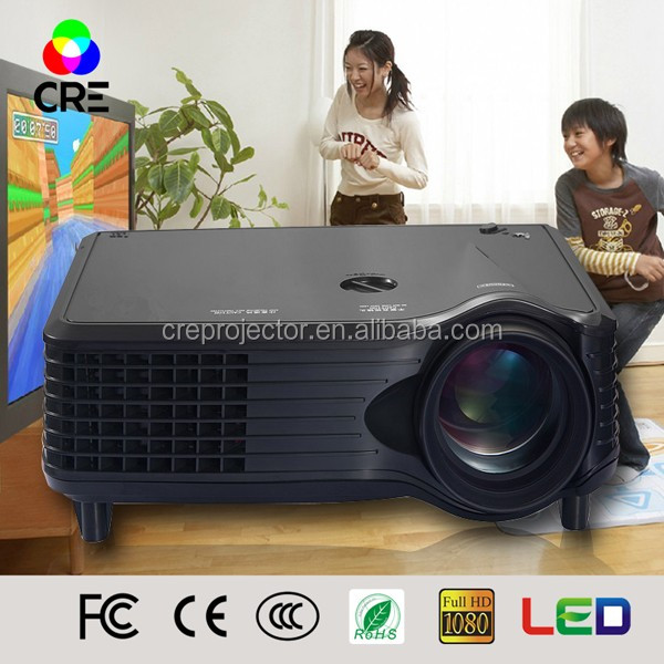 Home Cinema Theater Multimedia LED LCD Projector Bright 1500lumen 1080P PC AV TV VGA USB HDMI Convenient for Be Taken