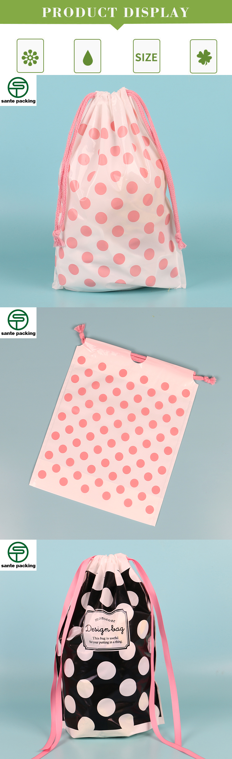 Dubai Promotion Scarf  Packing Plastic Bags Pe Plastic Drawstring Makeup Bags With Custom Printed Logo
