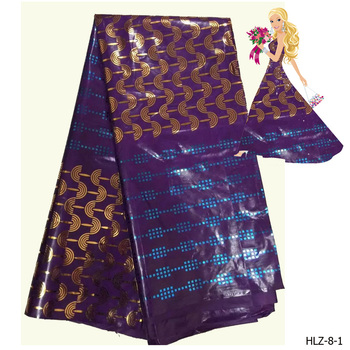 Nigeria style bronzed golden fabric bazin cotton fabric for women dresses