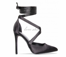 Black Satin Lace Up ladies party wear Court Shoes high heel sandals