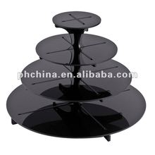 MA-688 4Tier Round &Black Acrylic Wedding Party Fairy Cupcake Display Stand; Acrylic Cupcake Stand