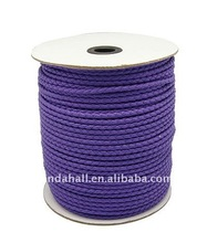 4mm Round PU Leather Cord Wholesale, Purple, 100yard/roll(LC-Q007-1)