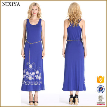 Latest Chiffon Maxi Long Blue Dress Sleeveless With Flower Printed Lady Fashion Dresses For Women Spring Summer