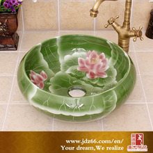 Vivid Green Glazed Pink Lotus Flowers Figure Art Ceramic Wash Sink in Bathroom