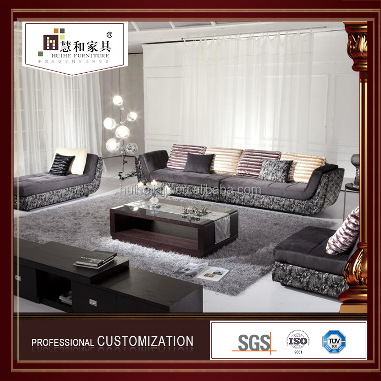 Customized Delicate Chinese Corner Fabric Sofa Set Living Room Furniture