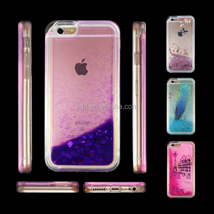 Creative Design Funny Liquid Floating Bling GlitterFlowing Hybrid TPU phone Case for iphone 6 ,7