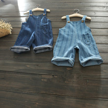 B20168A 2017 spring children's wearCartoon pocket stripe denim overalls Wide-legged pants