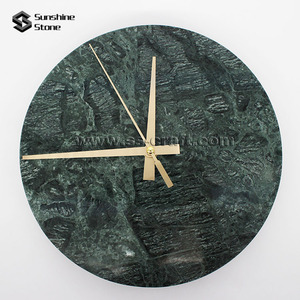 Custom Made Green Marble Stone Noiseless Wall Clock For Home Deco