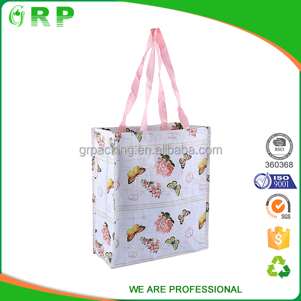 ISO/BSCI full color lamination printed beautiful folding fabric tote bag