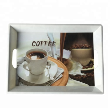 Wholesale custom design print melamine food tray/servicing tray with handles , coffee shop use plastic tray
