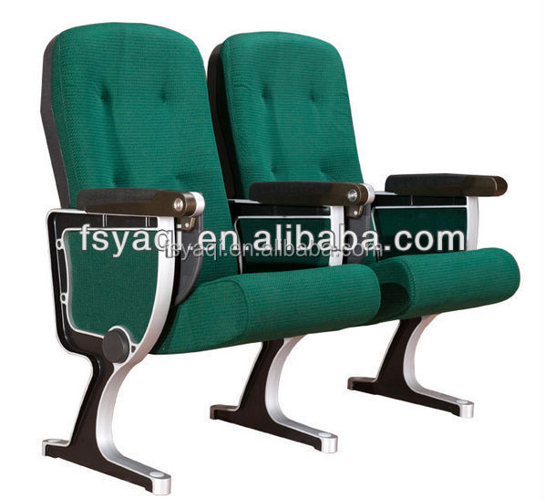 high back Theater tip up green fabric folding seat auditorium chair with small writing table YA-02V