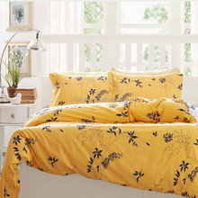 Colorful bright yellow flower design bed sheet full queen king fashion korean polyester bed sheet 4pcs