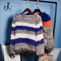 China Supplier Stripe Knitted Hand-woven Pullover Real Rabbit Fur Coat
