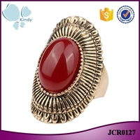 Alli express factory wholesale vintage alloy resin gemstone ladies gold finger ring
