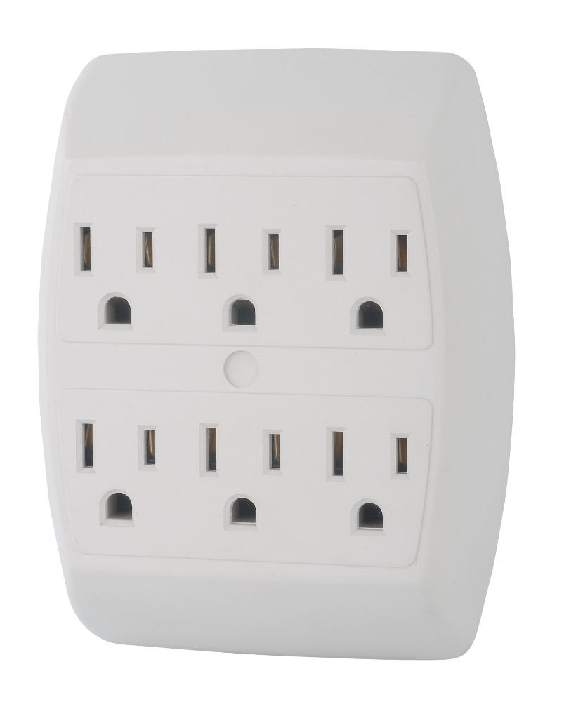2 PACK 6 Way Plug Wall Outlet  Power Strip Socket Grounded Beige Tan Splitter