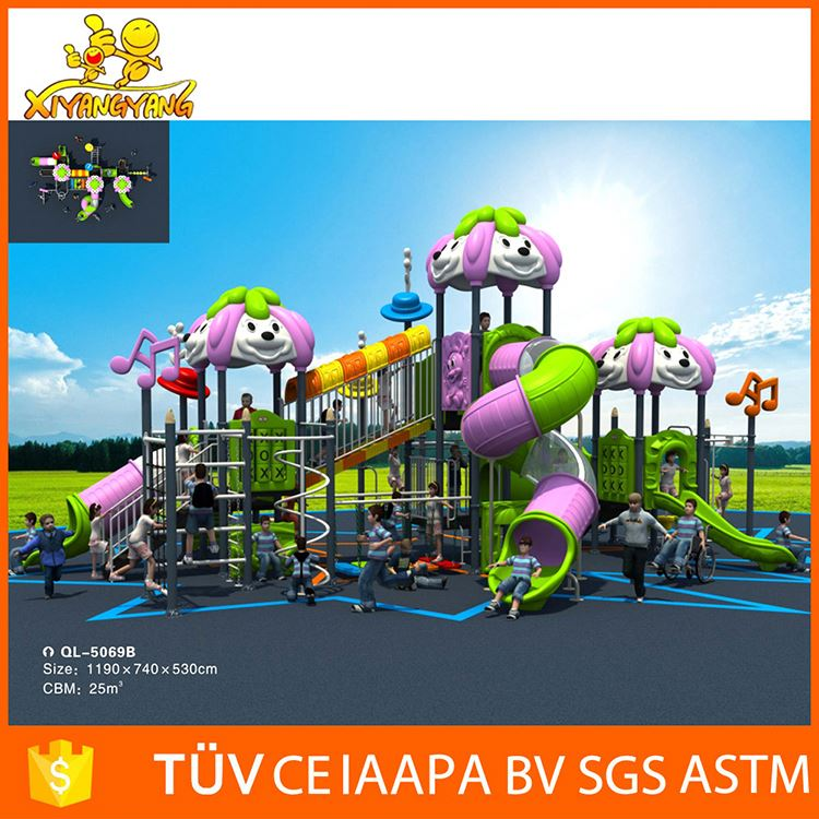 Safety colorful children outdoor playground item kids large outdoor playground with tiger slide