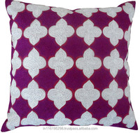 CUSHION COVER-EMBROIDERED GEOMETRIC TILE T-257