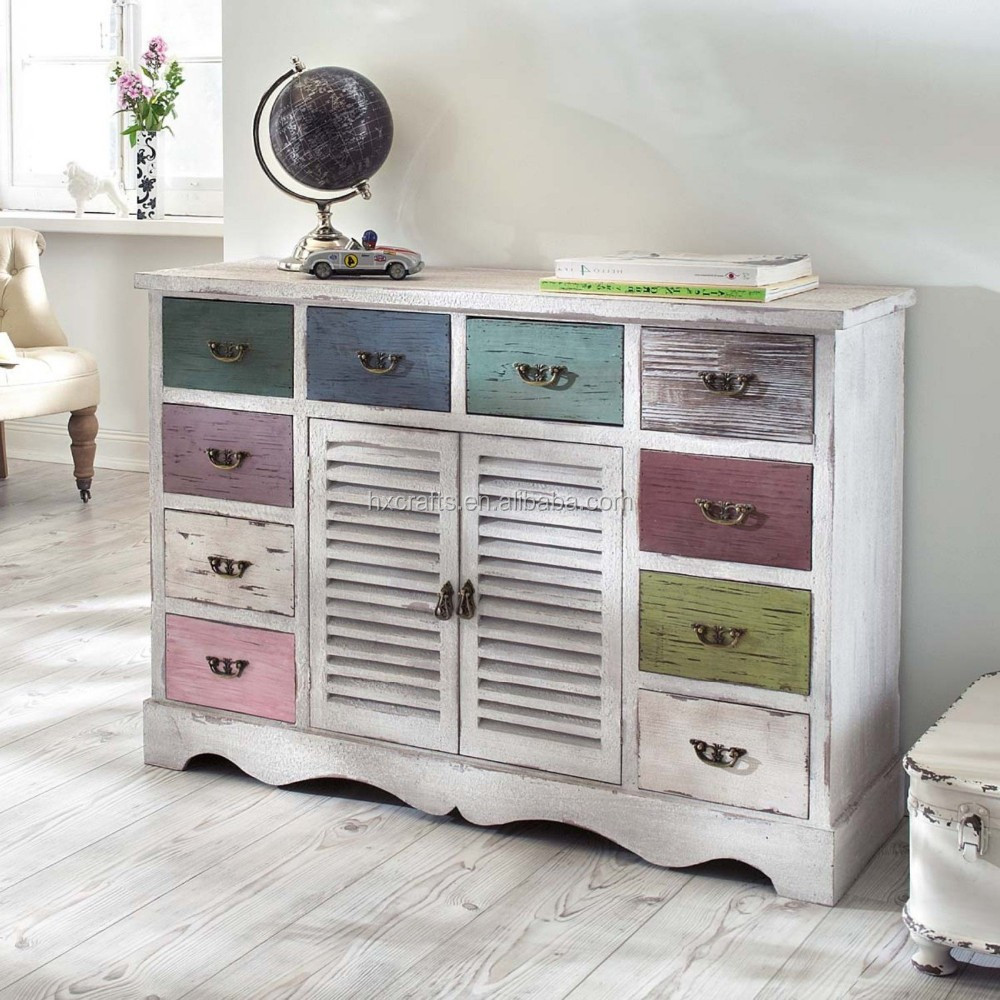 Wood Kommode in shabby chic with 10 drawers/shabby chic cabinet