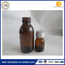 30ml 60ml oral liquid glass vial cough syrup bottles medicine glass bottle with silver aluminum cap