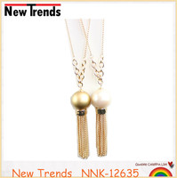 Hot sale simple tassel long chain pearl necklace fashion jewlery