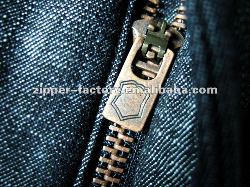 5YG BRASS SLIDER FOR PANTS ZIPPER NO.5 METAL CLOSED-END AUTO-LOCK FINISHED ZIPPER