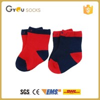 red and blue color cotton without spandex infant baby child tube socks
