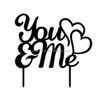 Cheap Acrylic You & Me with Hearts Wedding / Engagement decorating Cake Topper