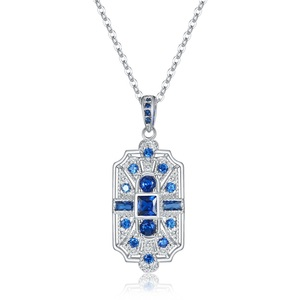 Retro style brass jewelry exquisite blue green red purple cubic zirconia stone platinum plated copper pendant necklace