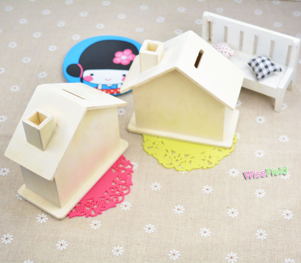 Piggy Bank Wood Coin House Monney Box Children Kid Baby DIY Wooden <strong>Crafts</strong>