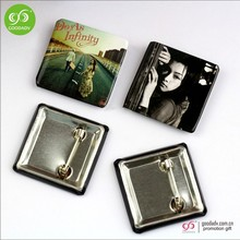 Guangzhou Manufacturer customized square tin button badge