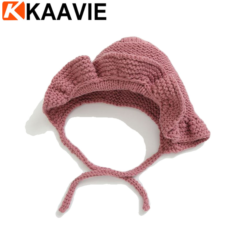 Custom head wraped plain knitted infant toddler baby girls crochet winter bonnet cap