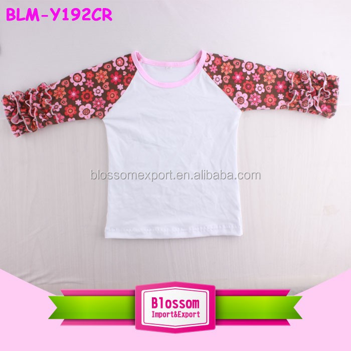 Wholesale Children's Clothing Double Ruffles Baseball Shirt Toddler Jersy Kids Raglan T Shirt Short Sleeve Icing Raglan