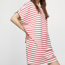 cocoon stripe roll-up sleeves cotton summer dresses