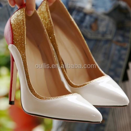 Mega March Sourcing 2017 Elegant double color high heel dress shoes sexy pointed toe pumps shoes PJ4001